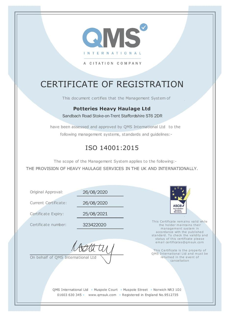 ISO 14001 Certificate for Heavy Haulage Services